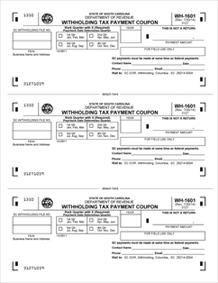 Form WH-1601 Fillable SC Withholding Tax Payment