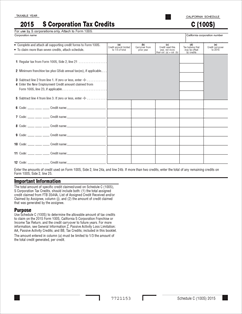 Form 100-S Schedule C Fillable S Corporation Tax Credits