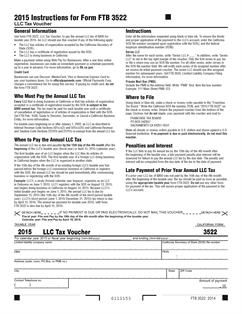 3522 Form Limited Liability Company Tax Voucher (Fill-in)