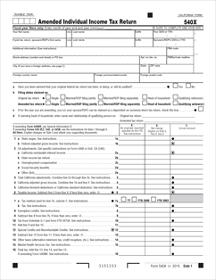 540-X Form Amended Individual Income Tax Return (Fill-in)