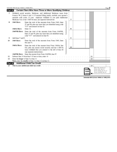 Form 1040 (Schedule 8812) Fillable Child Tax Credit