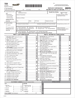 Form 720 Fillable Kentucky Corporation Income Tax and LLET Return