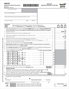Form 740-EZ Fillable Kentucky Individual Income Tax Return