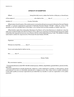 Form 92A300 Fillable Affidavit of Exemption - For administration ...