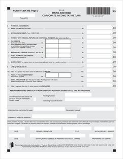 Form 1120X-ME Fillable Amended income tax return