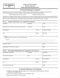 Form NJ-1040-O Fillable E-File Opt-Out Request Form