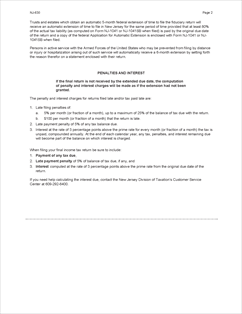 Form NJ-630 Fillable Application for Extension of Time to File NJ ...
