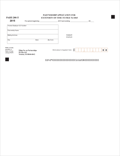 Form Part 200-T Fillable Partnership Application for Extension of ...