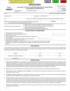 Form 4466W Fillable Wisconsin Corporation or Pass-Through Entity ...