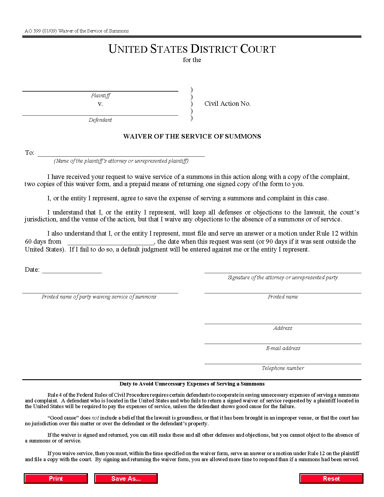 Form AO 399 Waiver of the Service of Summons