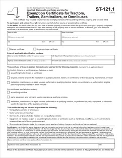 Form ST-121-1 Fillable Exemption Certificate for Tractors ...