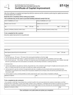 Form ST-124 Fillable Certificate of Capital Improvement