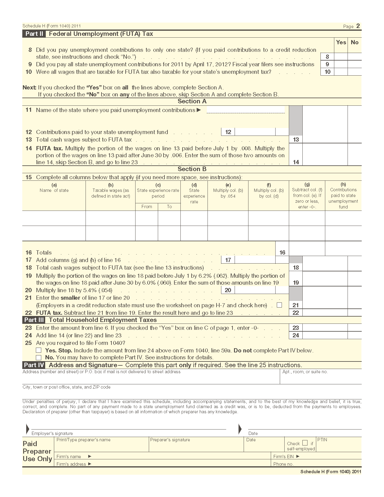 Form 1040 Schedule H Household Employment Taxes