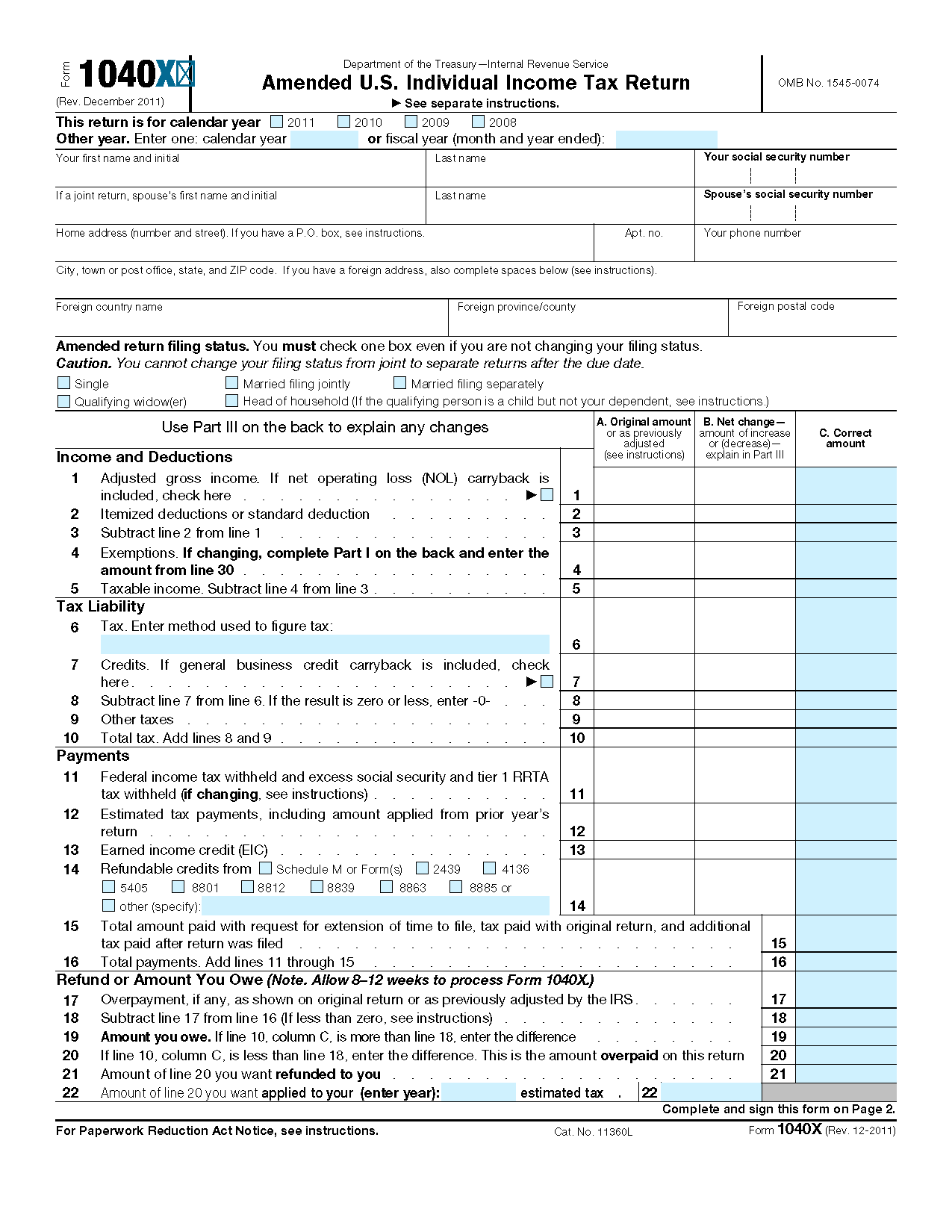 Form 1040 X Amended Us Individual Income Tax Return