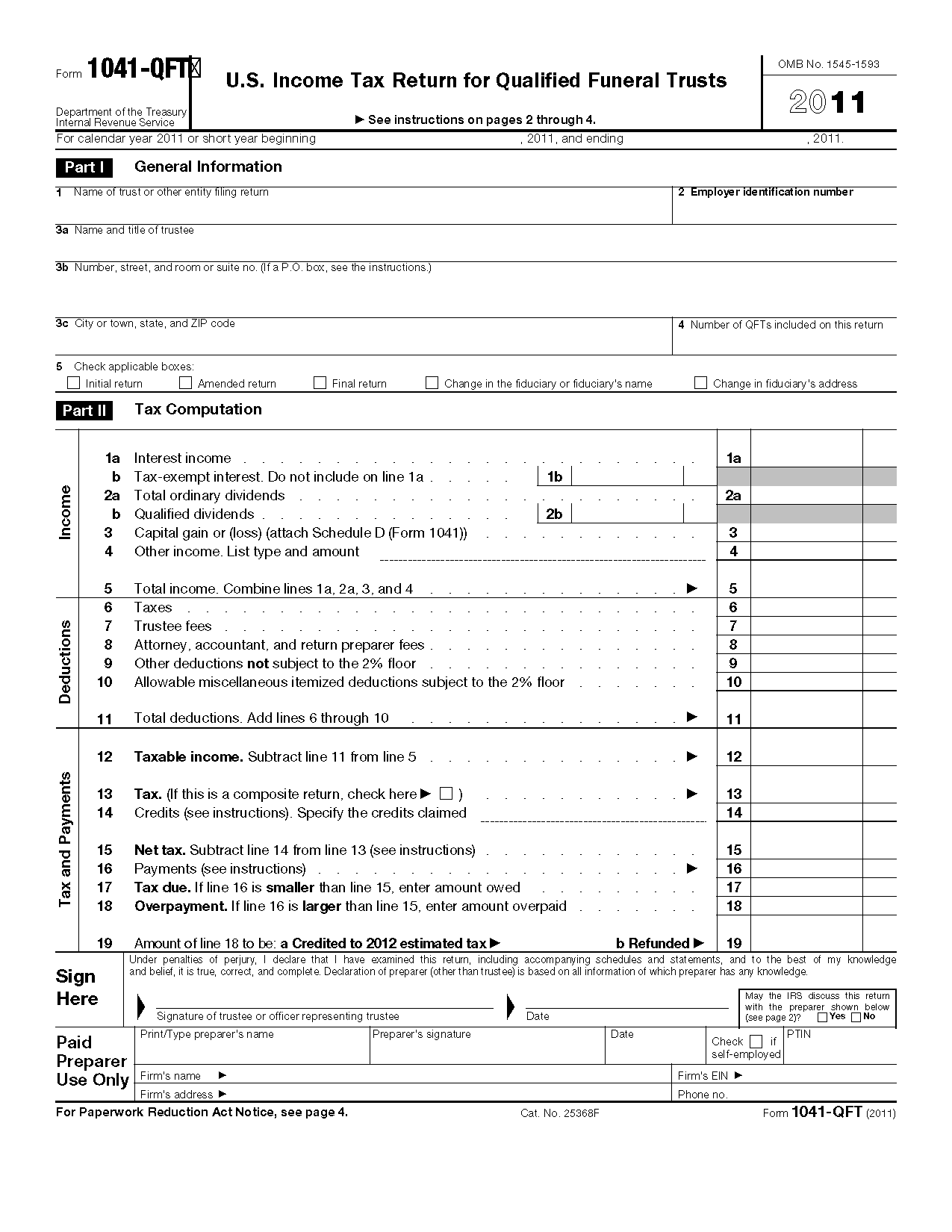 Form 1041-QFT U.S. Income Tax Return for Qualified Funeral Trusts