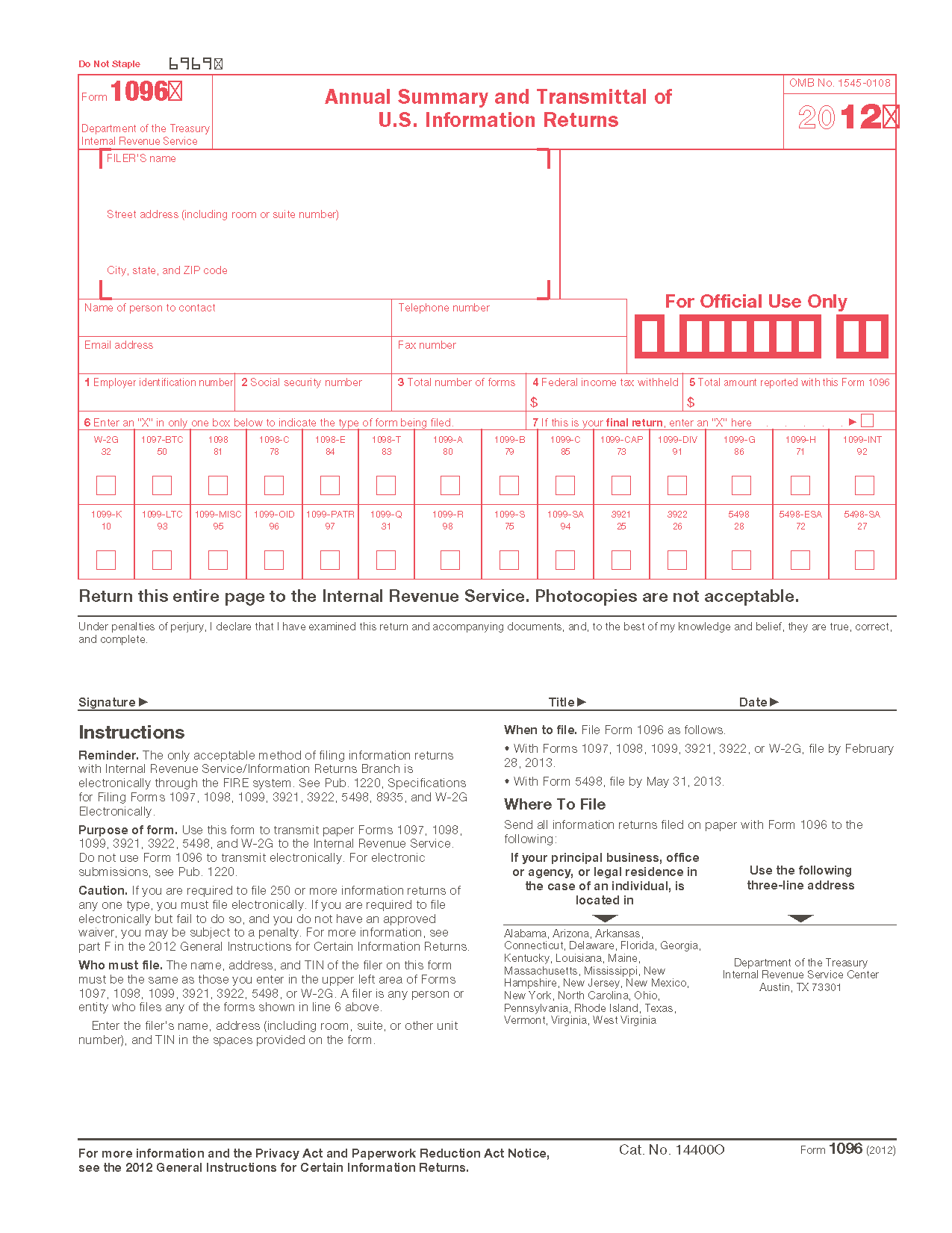 Form 1096 Annual Summary and Transmittal of U.S. Information Returns (Info  Copy Only)