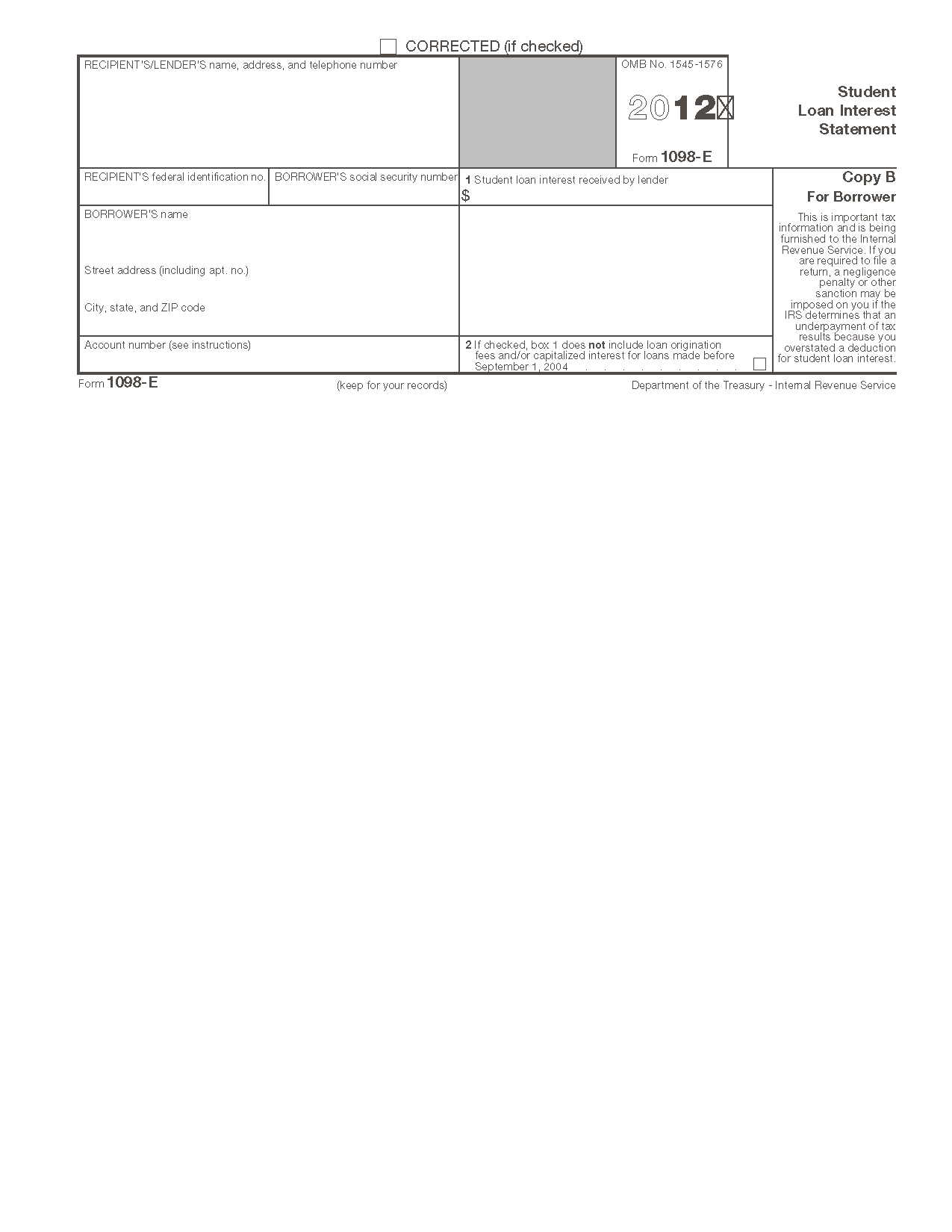 Form 1098 E Student Loan Interest Statement Info Copy Only