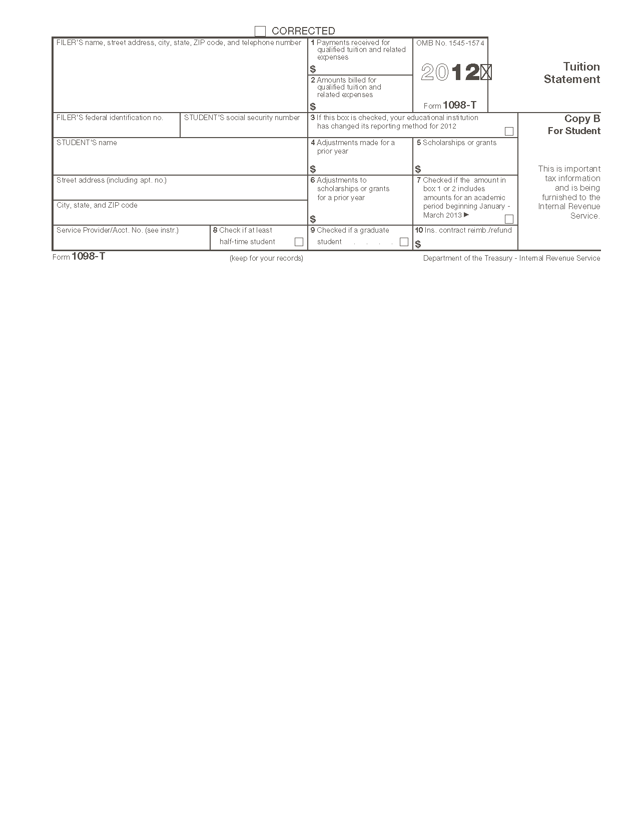 Form 1098-T Tuition Statement (Info Copy Only)