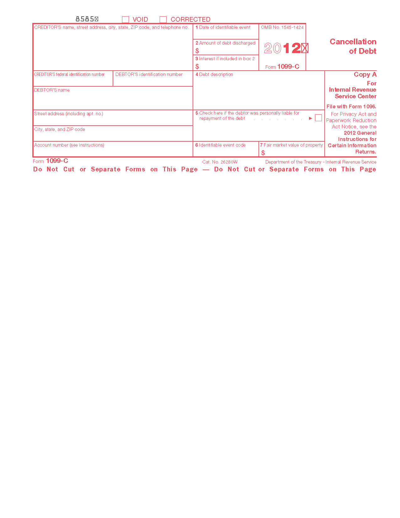 Form 1099 C Cancellation Of Debt Info Copy Only