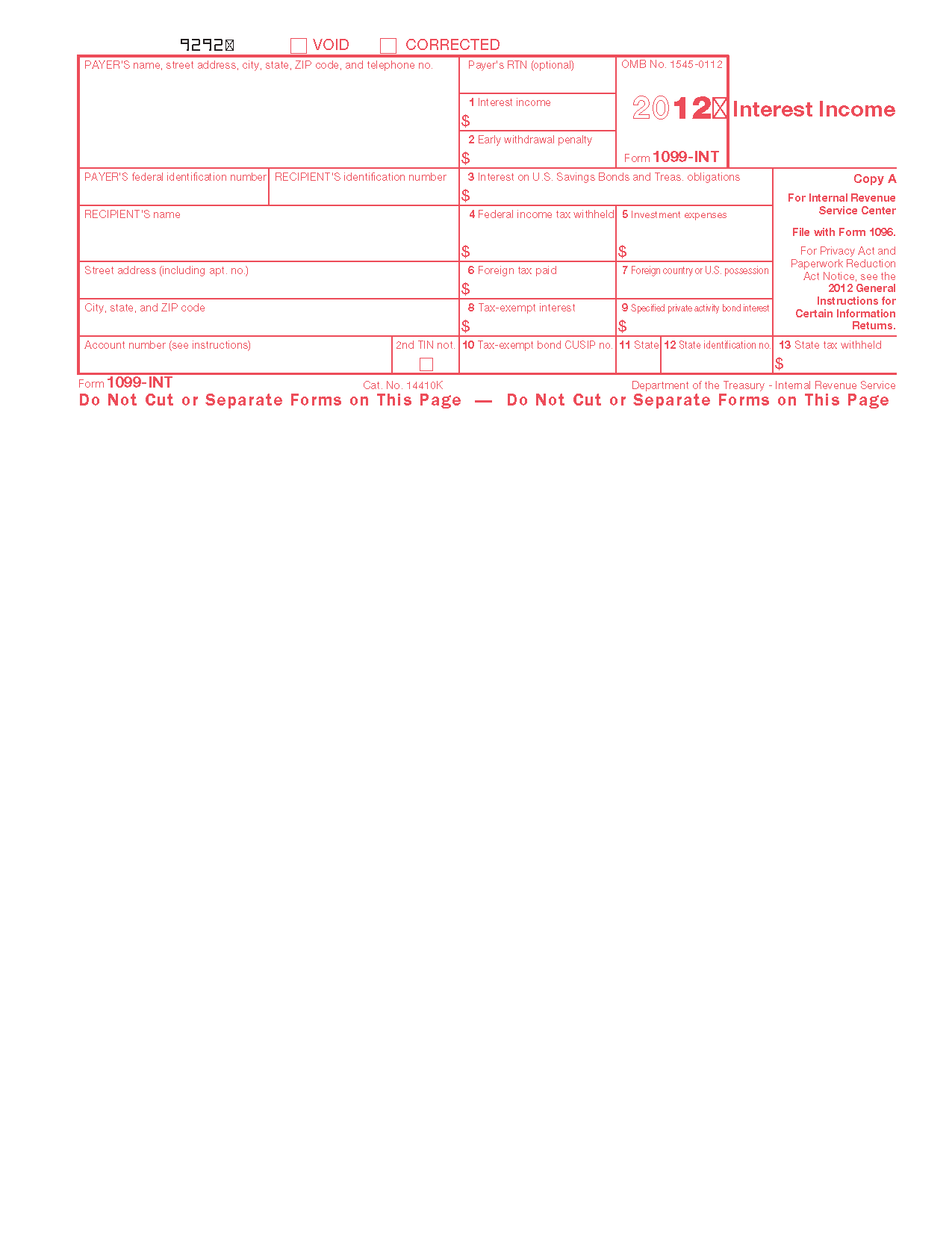 Form 1099 Int Interest Income Info Copy Only