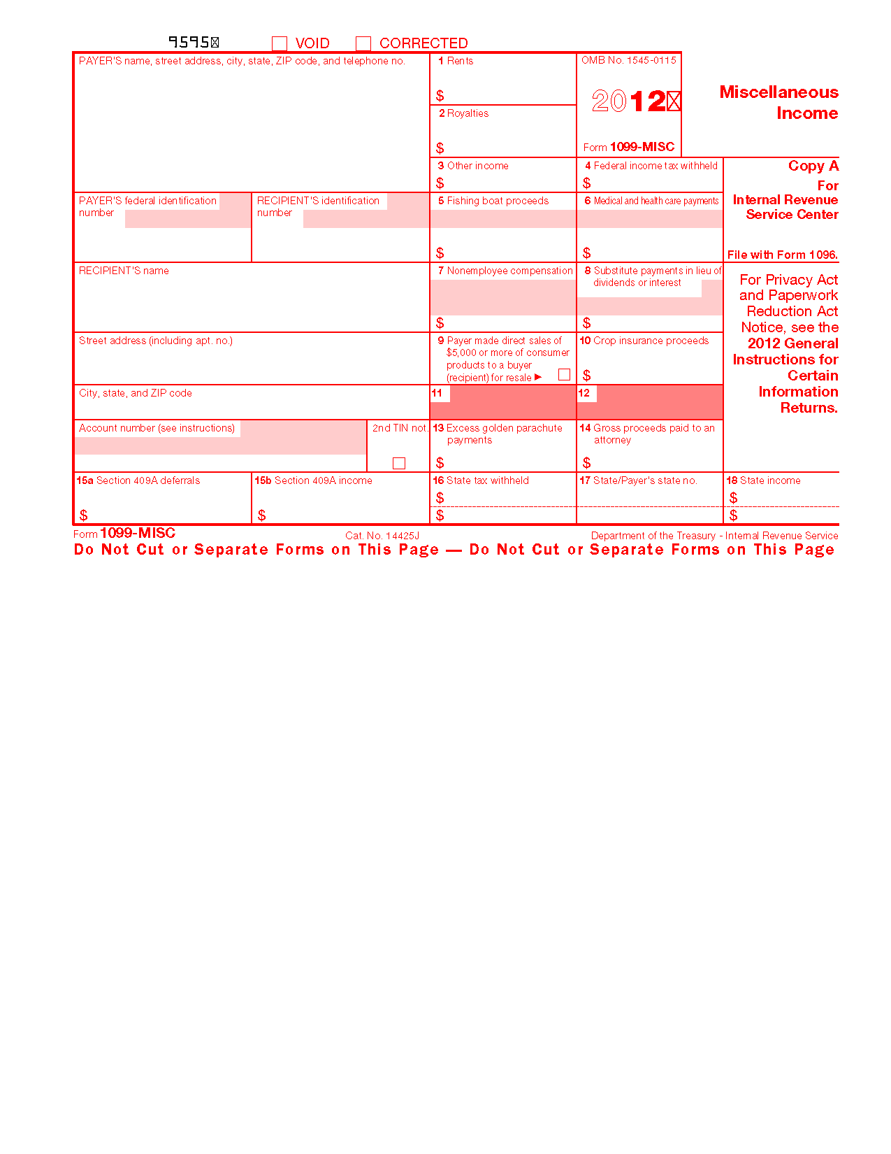 Form 1099 Misc Miscellaneous Income Info Copy Only