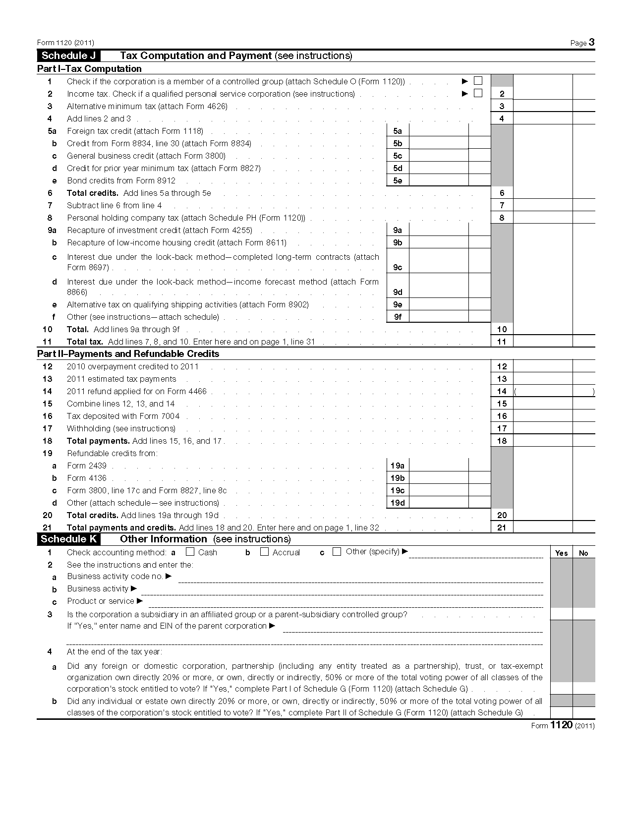 Form 1120 U.S. Corporation Income Tax Return