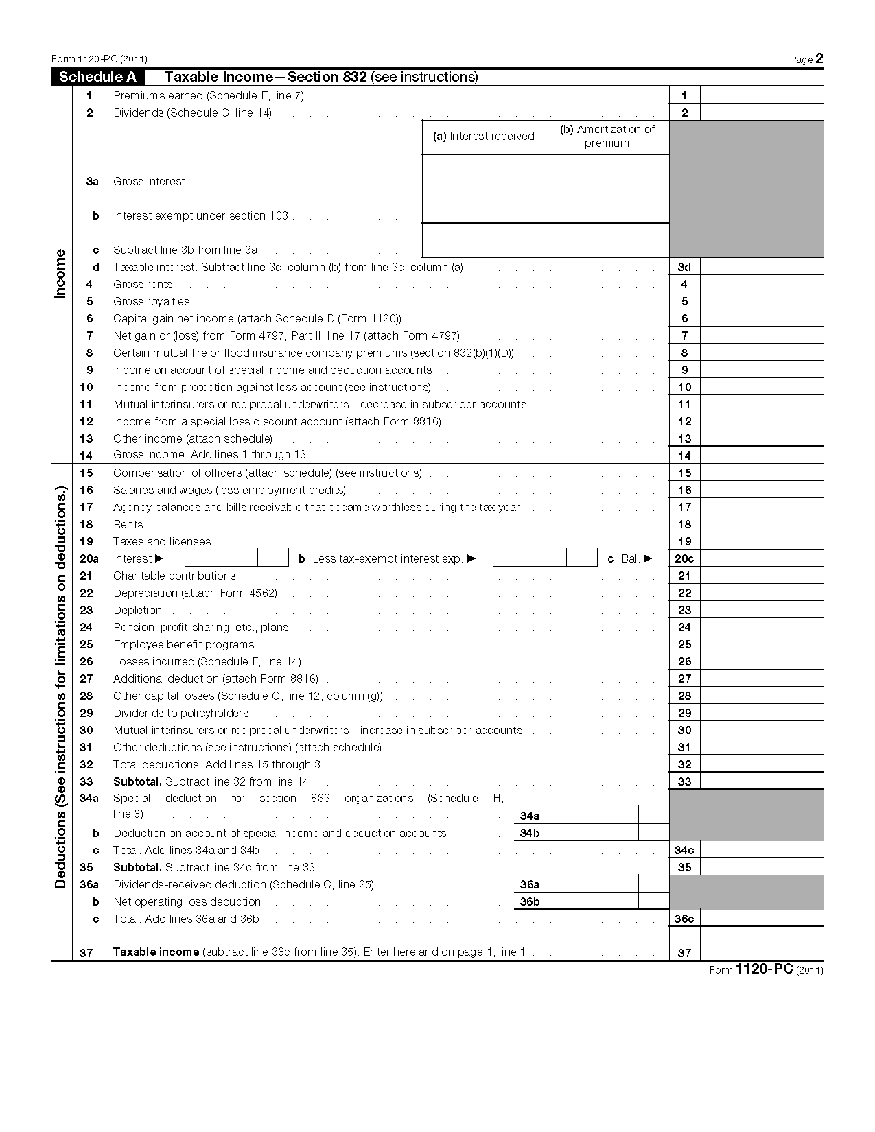 Form 1120 pc us property and casualty insurance company income tax view all 2011 irs tax forms falaconquin