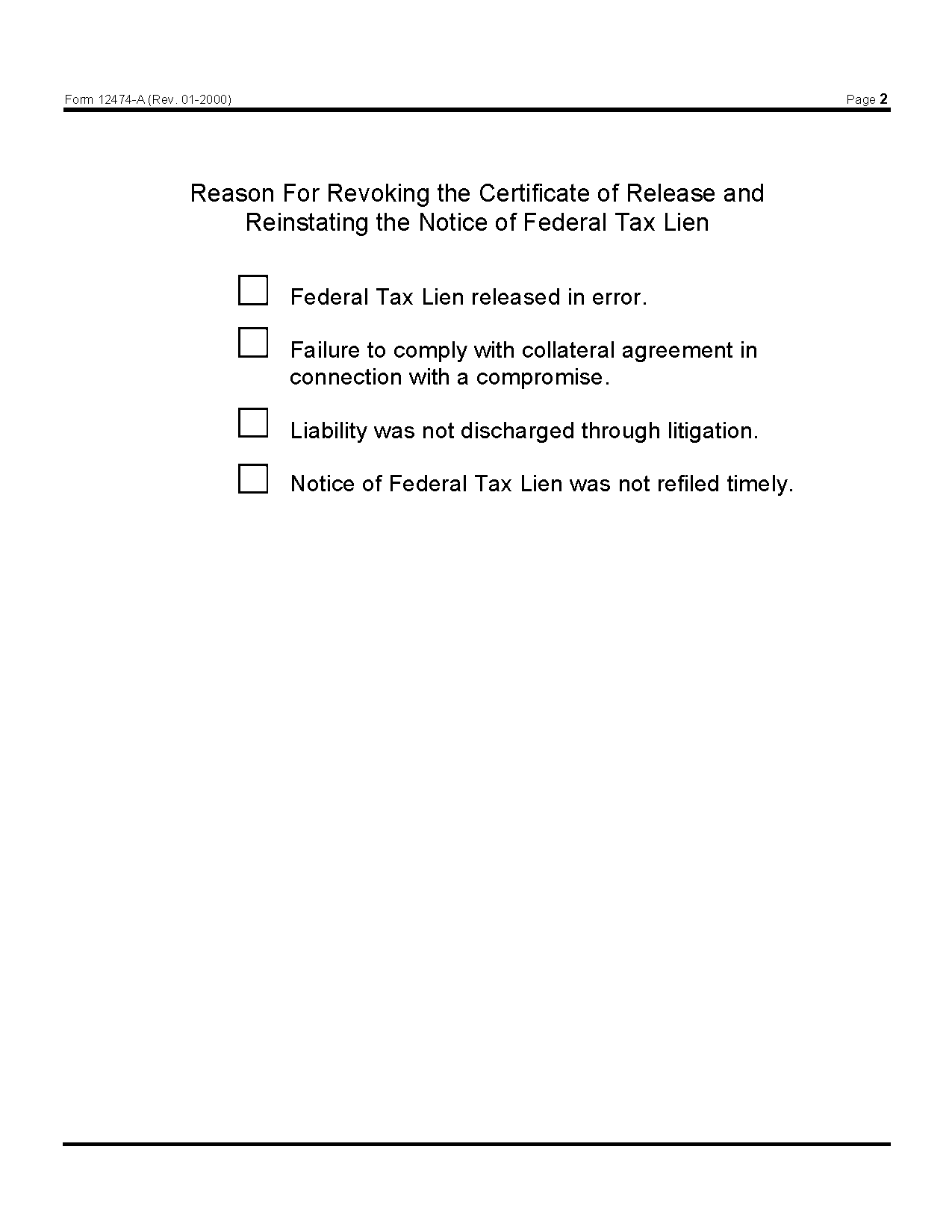 Form 12474 A Revocation Of Certificate Of Release Of Federal Tax Lien