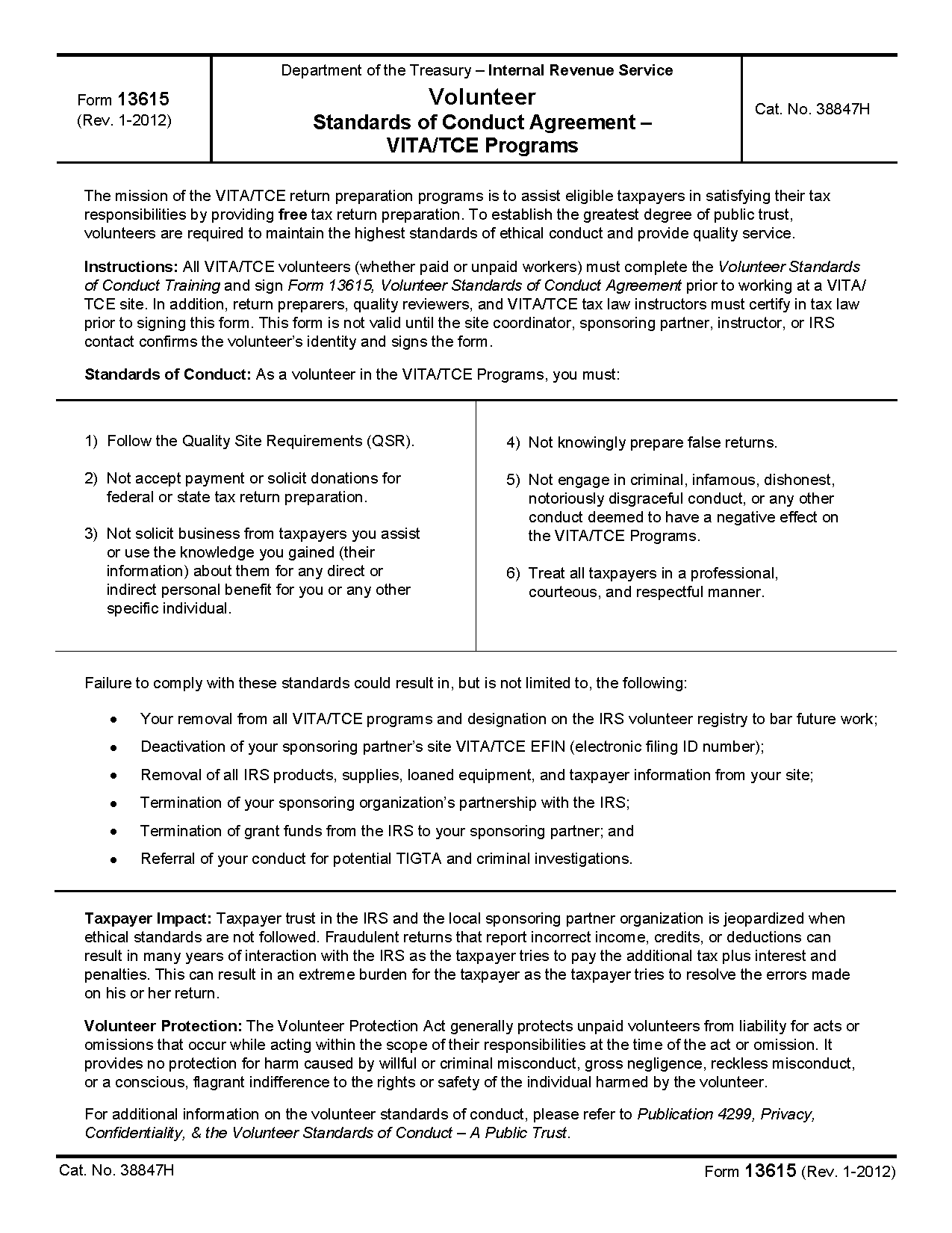 Form 13615 Volunteer Standards Of Conduct Agreement Vitatce Programs