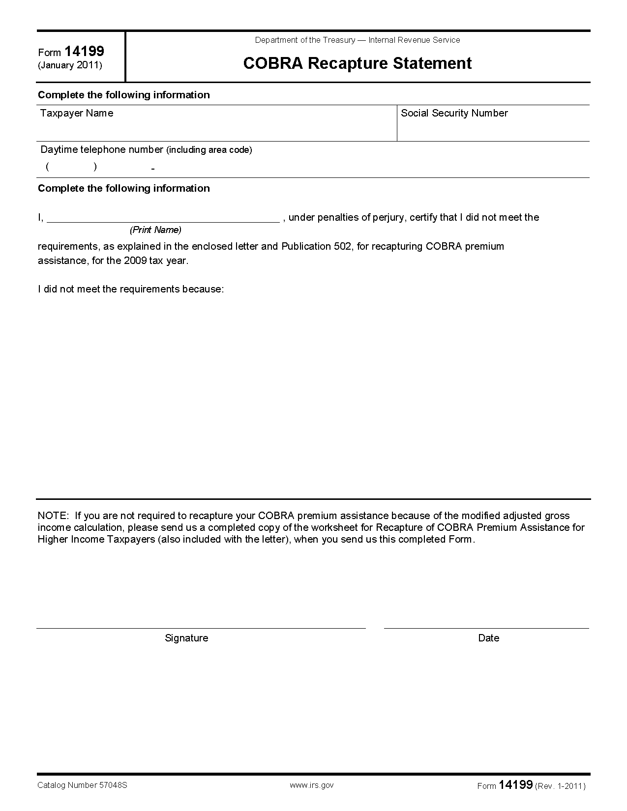 Form 14199 cobra recapture statement view all 2011 irs tax forms falaconquin
