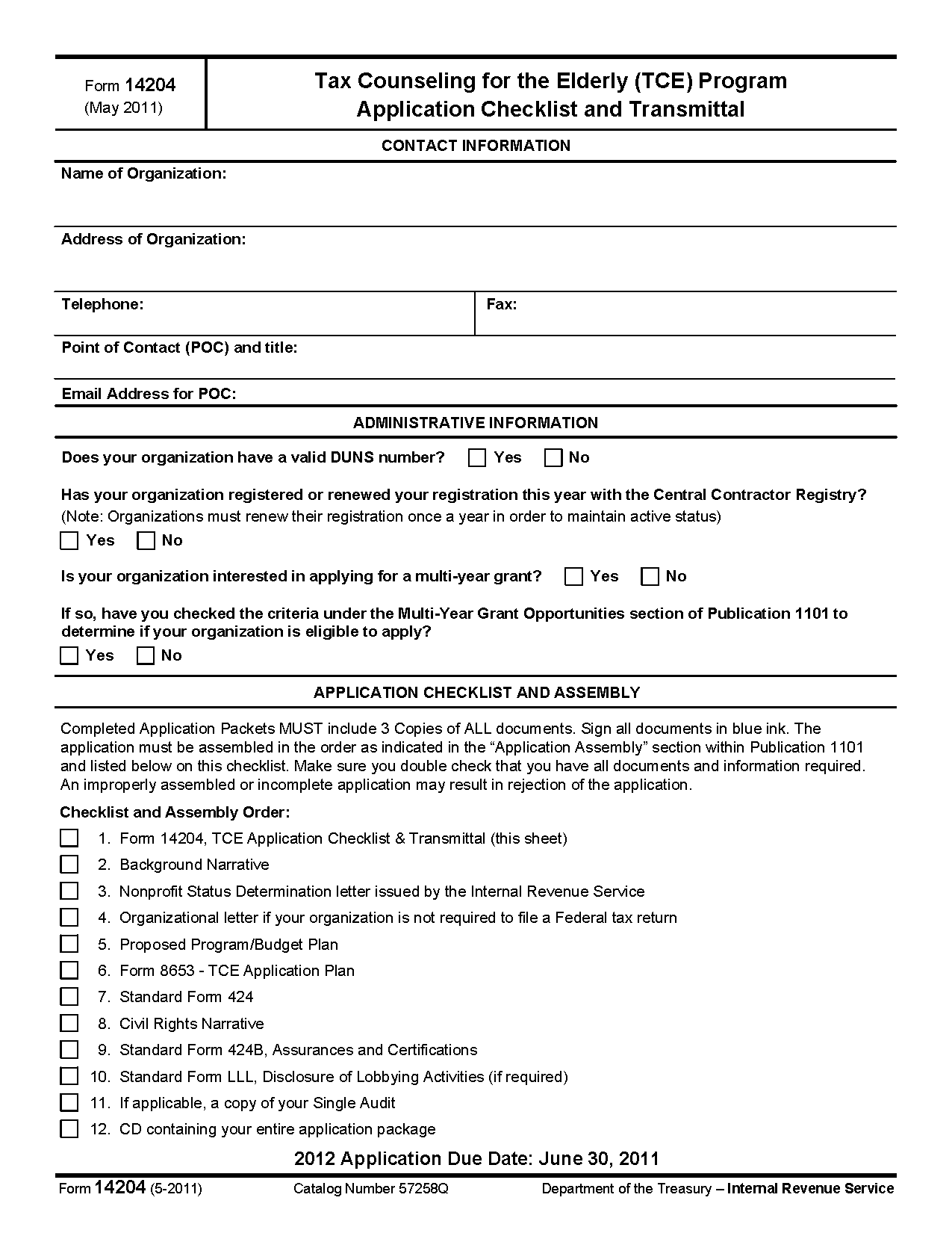 Form 14204 tax counseling for the elderly grant application cover page view all 2011 irs tax forms falaconquin