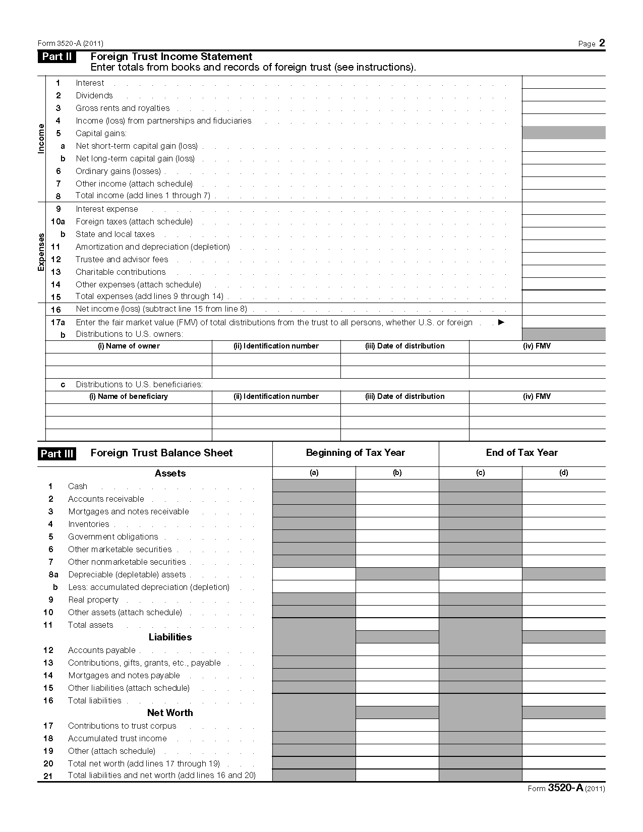Form 3520 A Annual Information Return Of Foreign Trust With A Us Owner