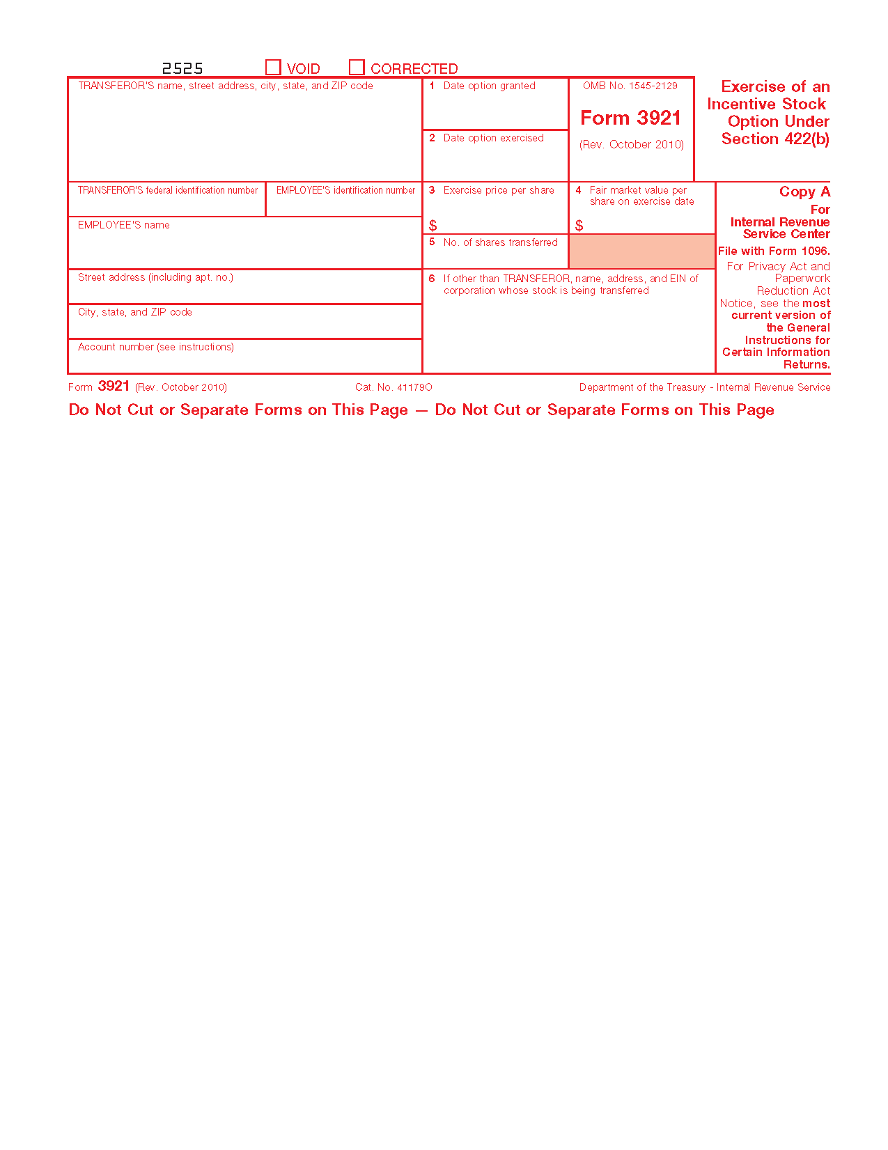 Form 3921 Exercise Of An Incentive Stock Option Under Section 422b