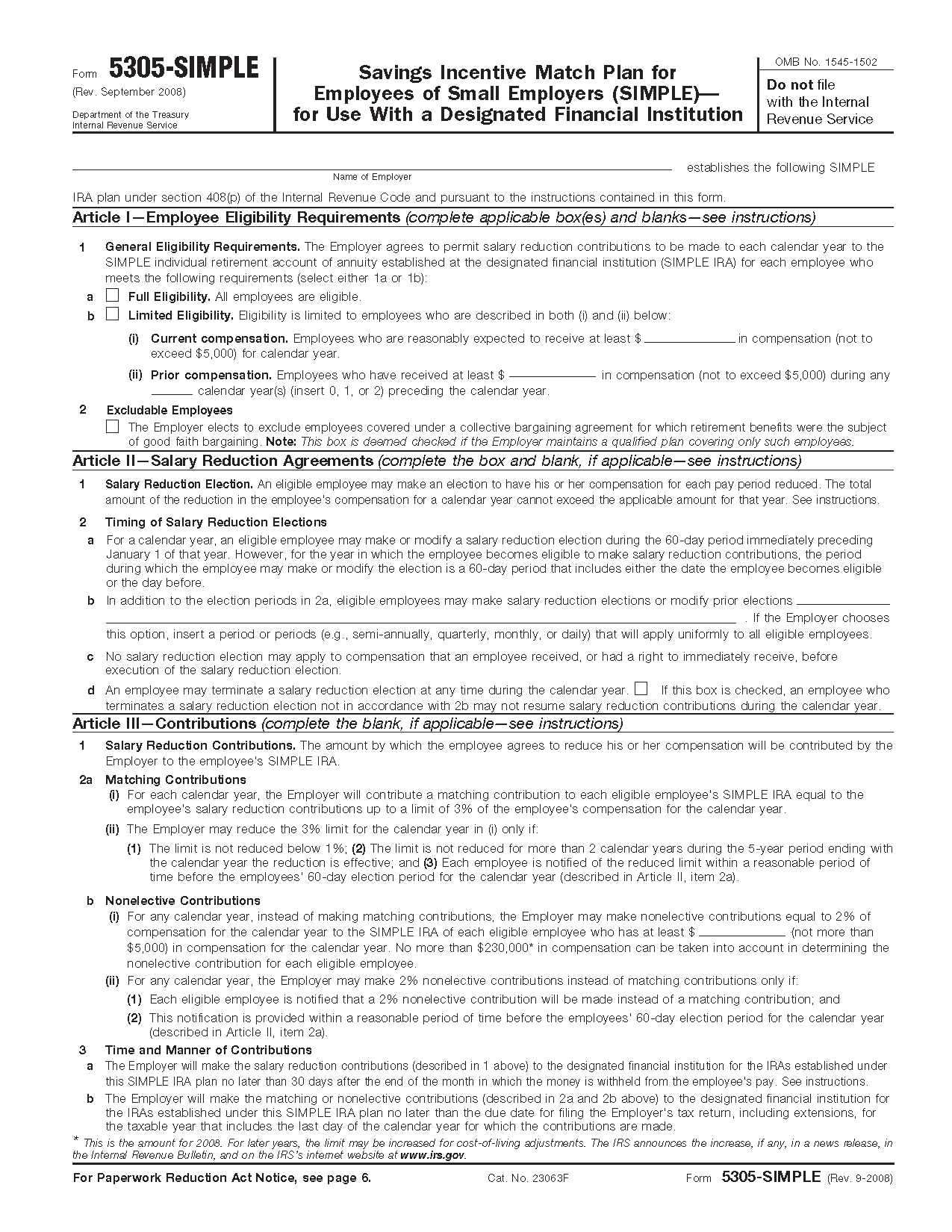 irs form 5305 simple - Mersn.proforum.co