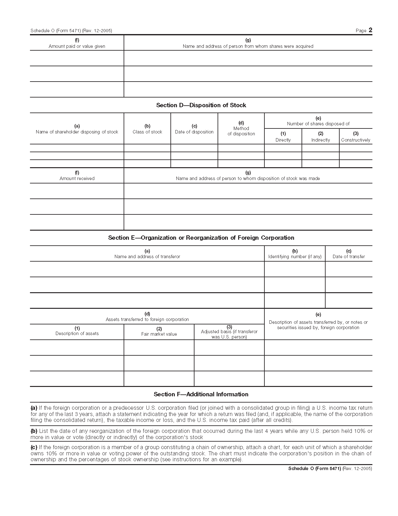Form 5471 Schedule O Organization Or Reorganization Of Foreign