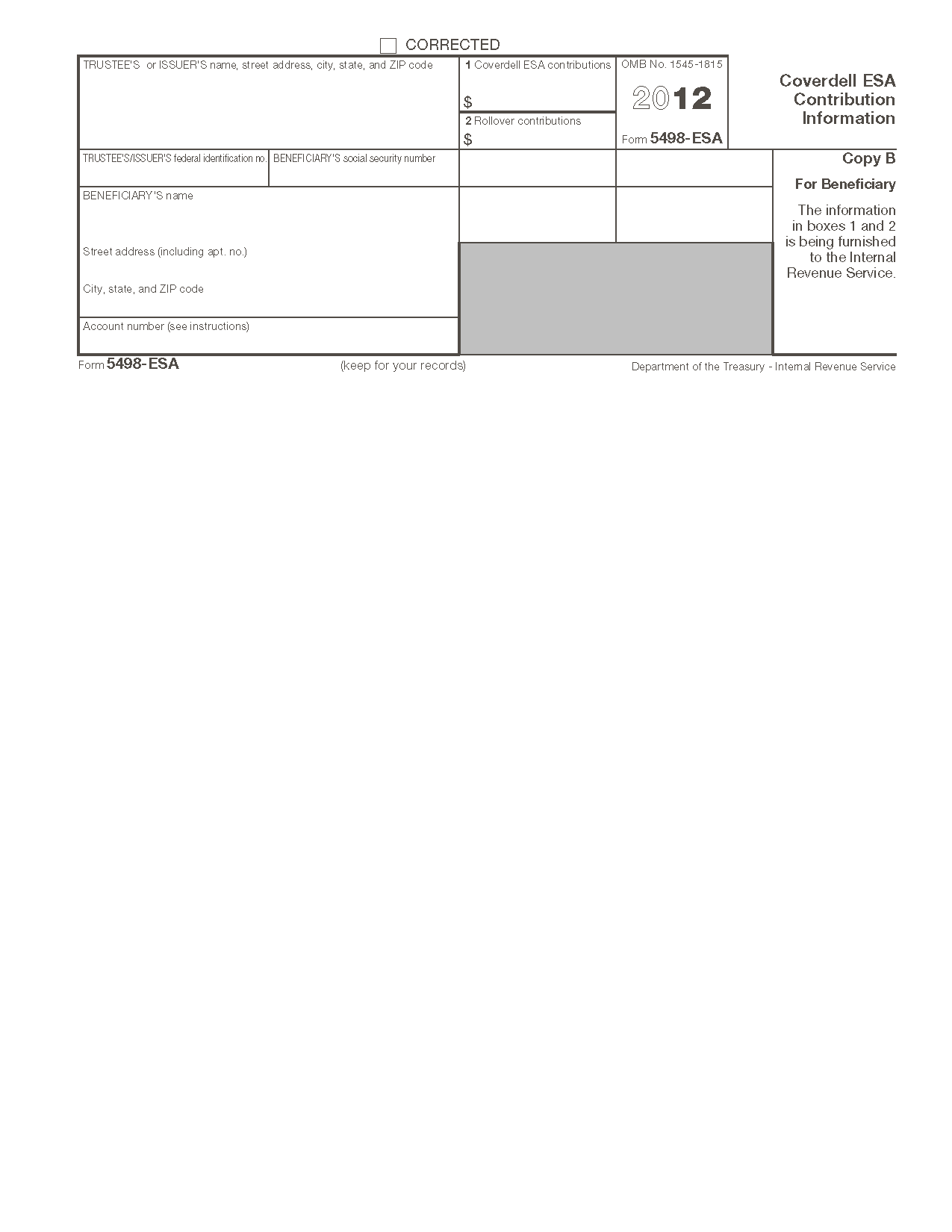 Form 5498-ESA Coverdell ESA Contribution Information (Info Copy Only)