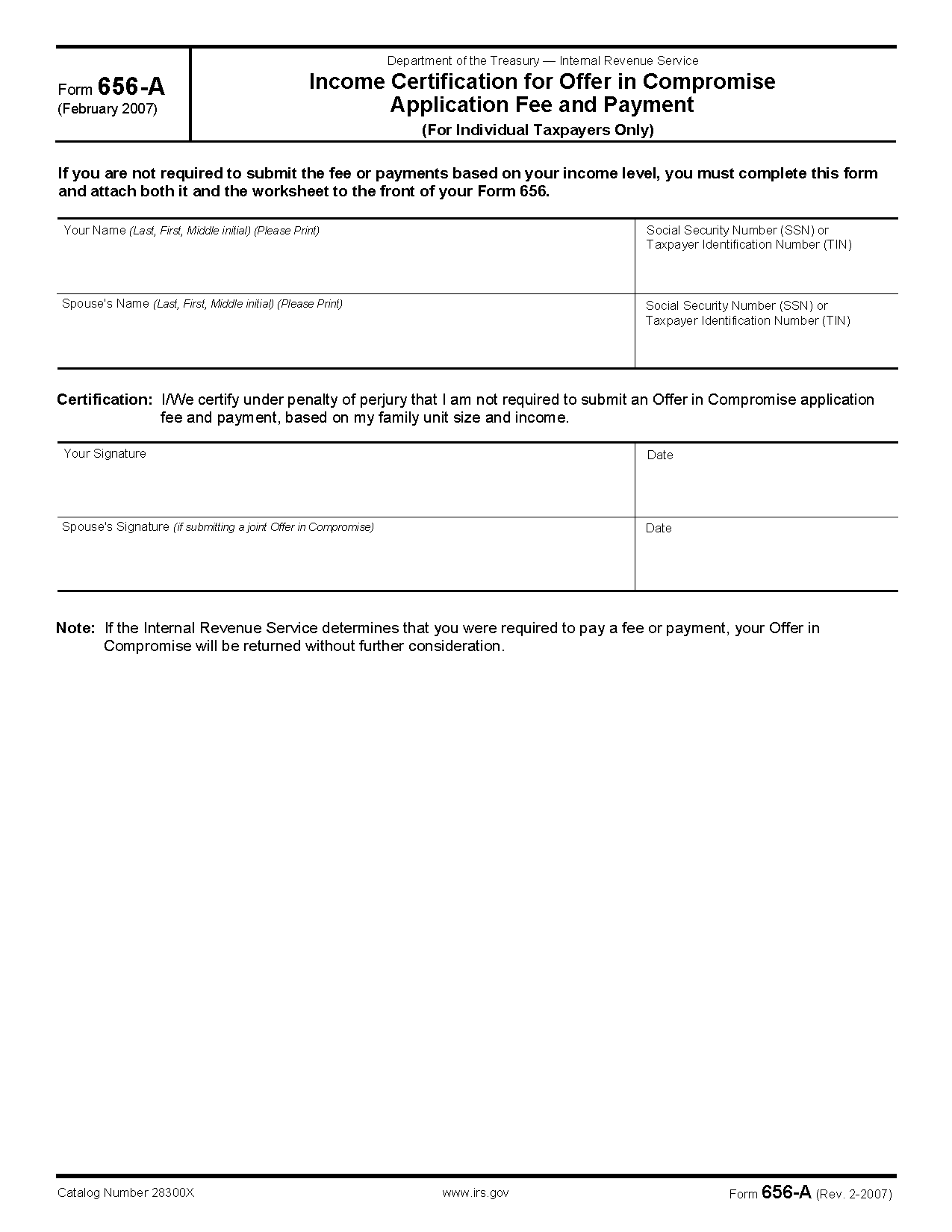 Form 656 a income certification for offer in compromise application view all 2011 irs tax forms falaconquin