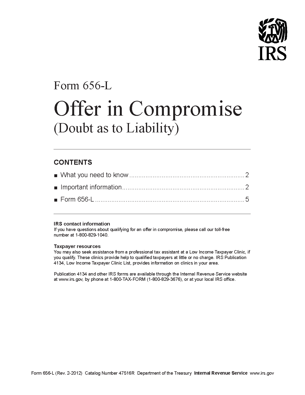 Form 656-L Offer in Compromise (Doubt as to Liability)