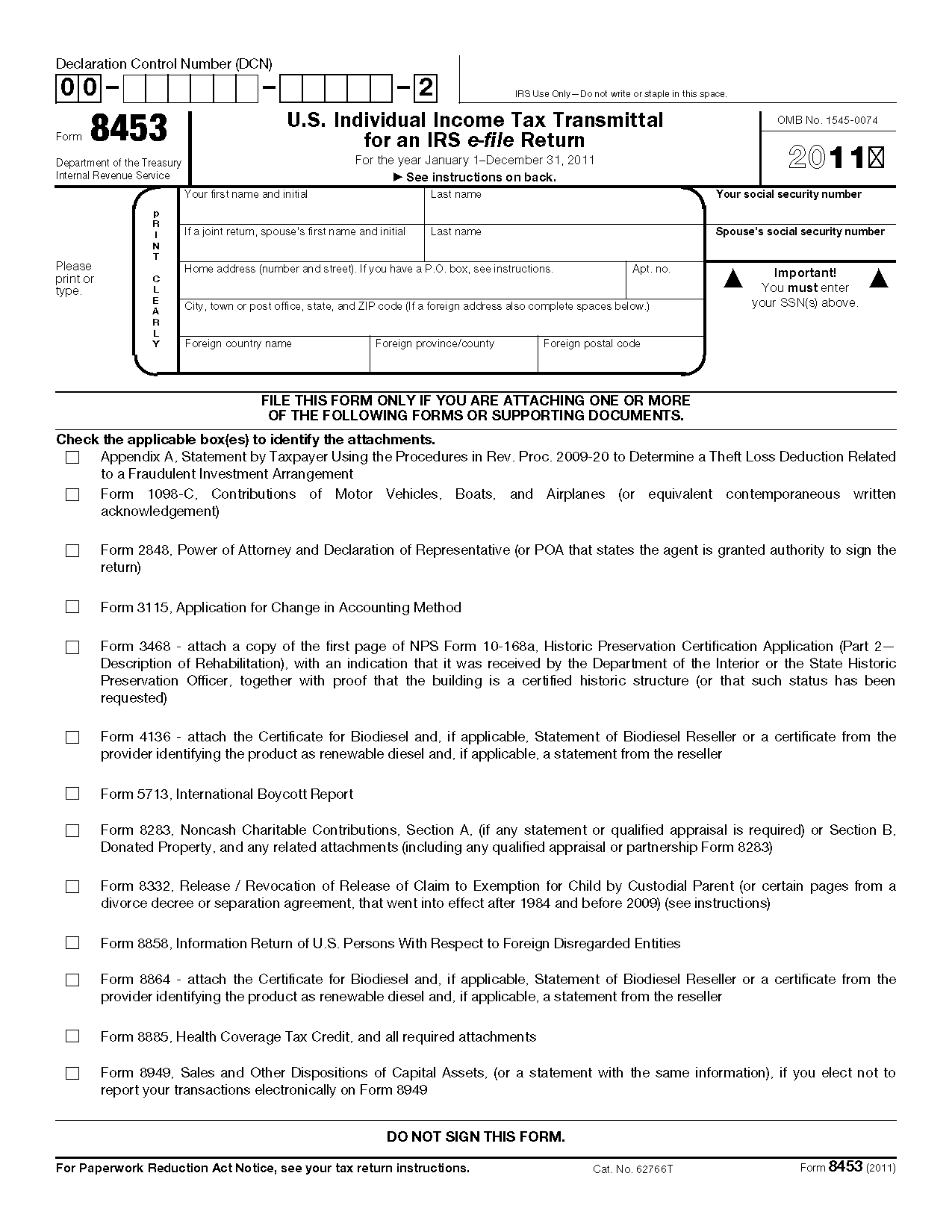 Form 8453 U.S. Individual Income Tax Transmittal for an IRS e-file ...