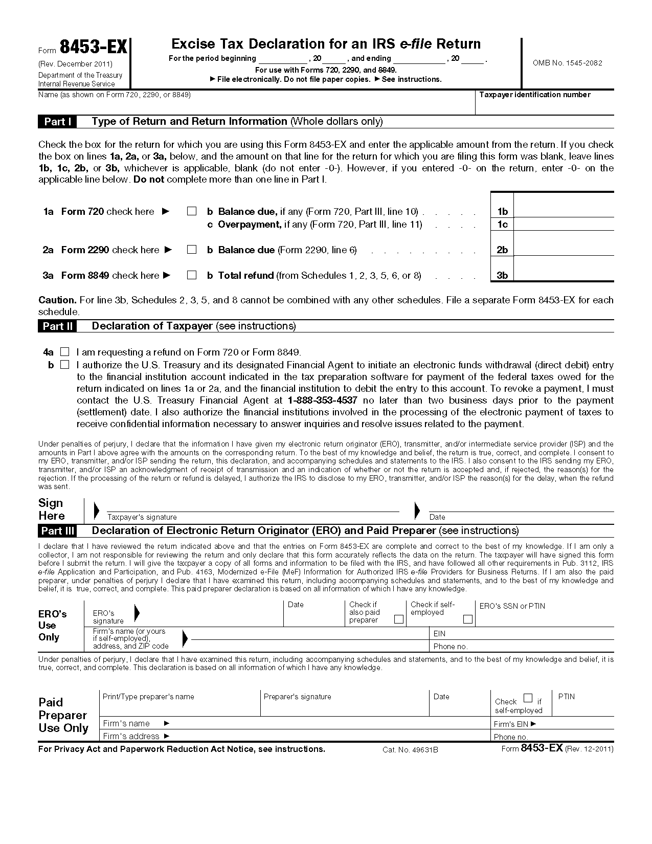 Form 8453-EX Excise Tax Declaration for an IRS e-file Return