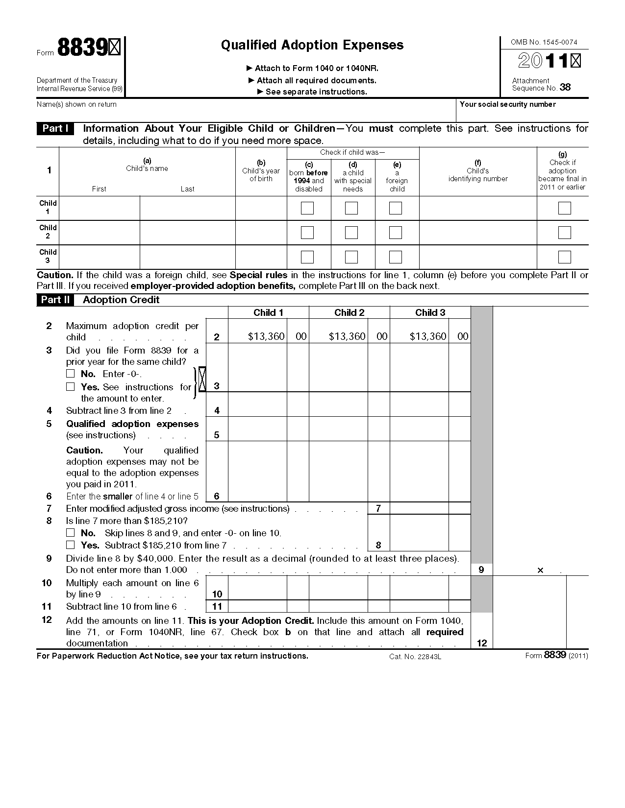 Form 8839 qualified adoption expenses view all 2011 irs tax forms falaconquin