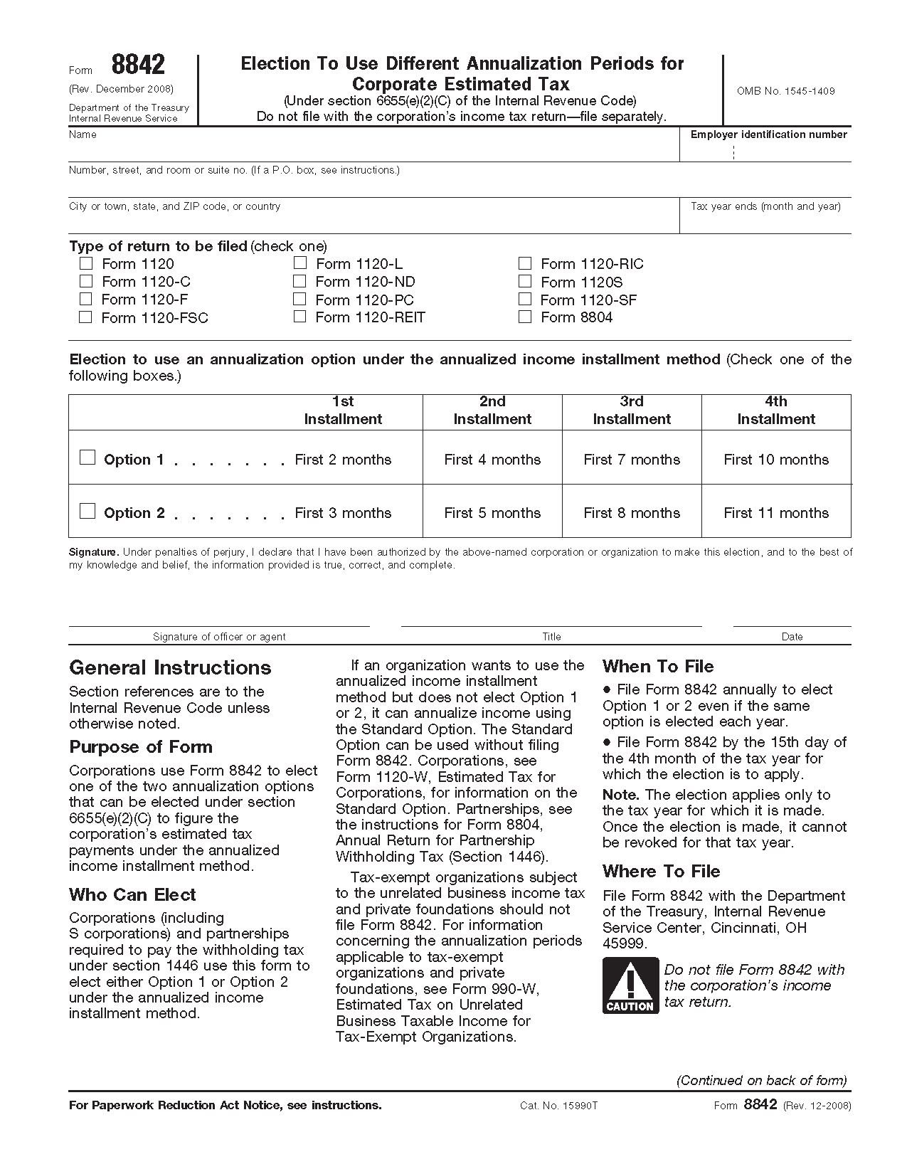 Form 8842 Election to Use Different Annualization Periods for ...