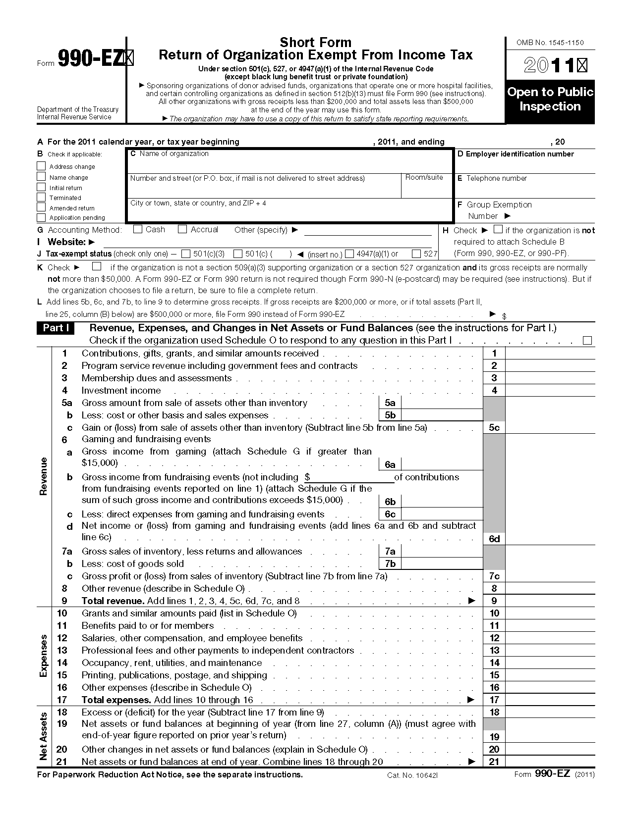 Form 990EZ Short Form Return of Organization Exempt from Income Tax – Tax Exemption Form