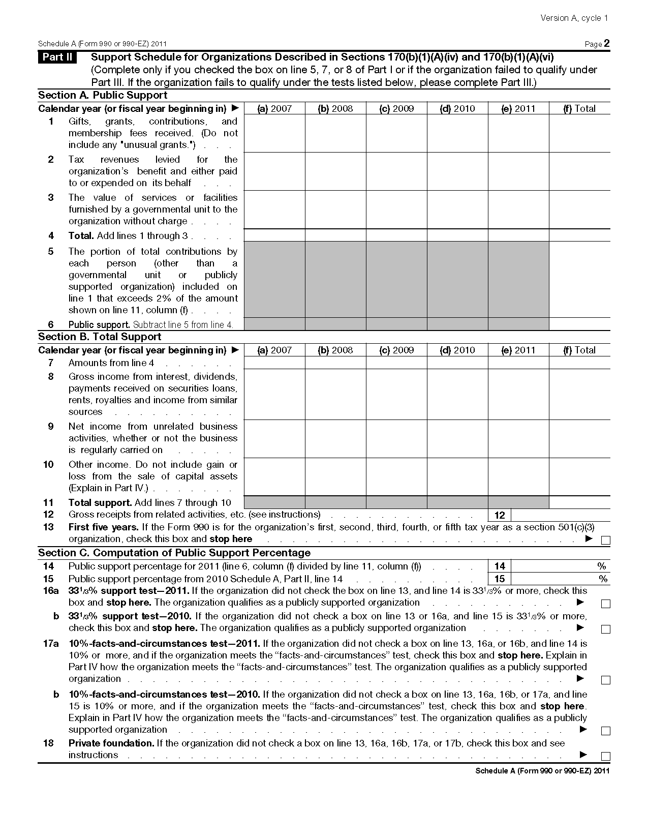 Form 990 or 990-EZ (Sch A) Public Charity Status and Public Support