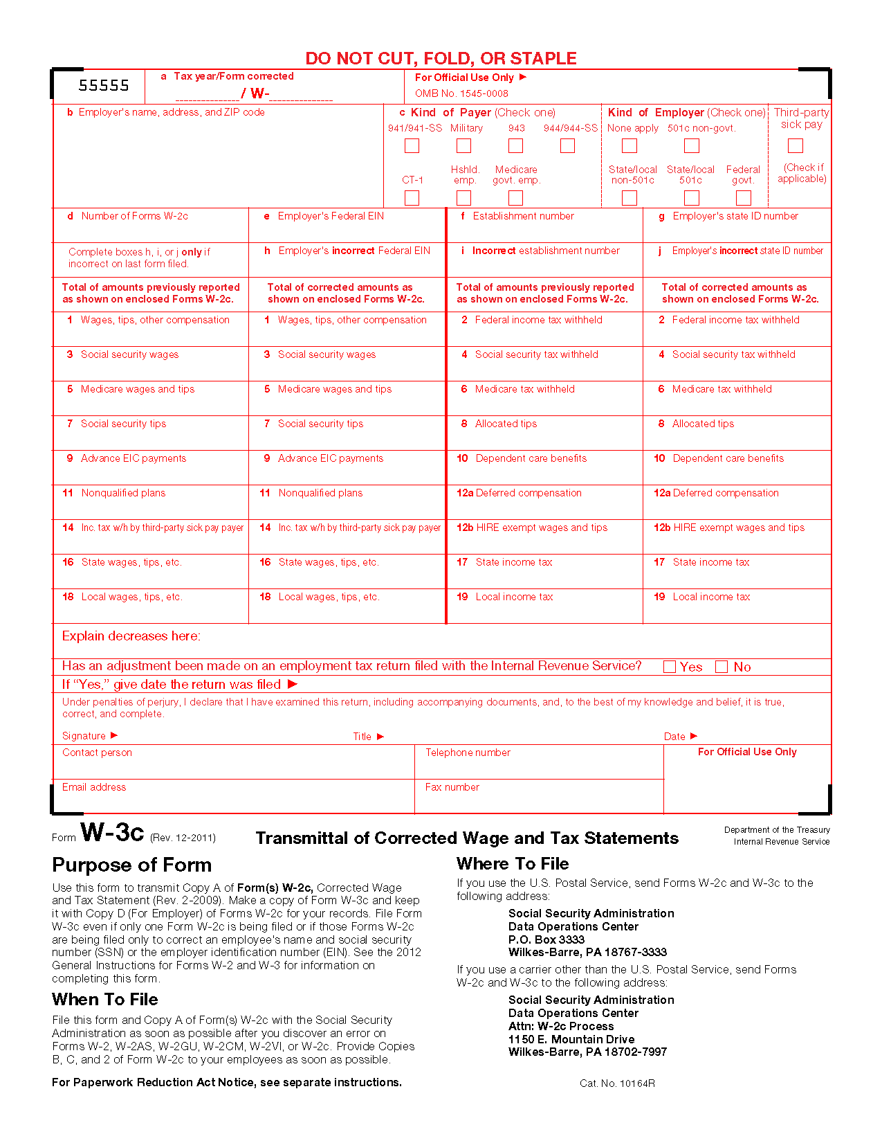 Form w 3c transmittal of corrected wage and tax statements info view all 2011 irs tax forms falaconquin