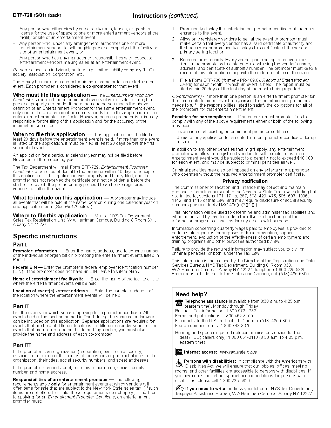 Form Dtf 728 Application For Entertainment Promoter Certificate