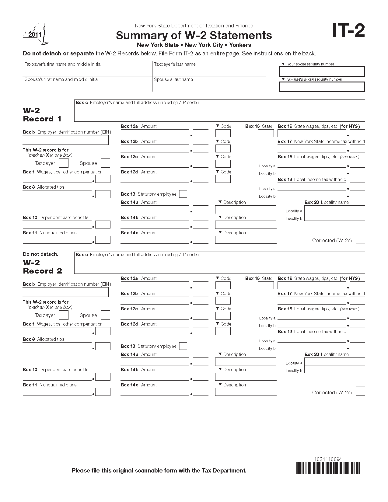 Form it 2 fill in save summary of w 2 statements view all 2011 ny new york tax forms falaconquin