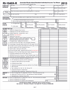 Form 1040X-R Fillable Amended Rhode Island Resident Return with ...